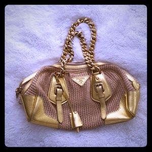 Prada Naturale/Gold Raffia Chain Shoulder Bag